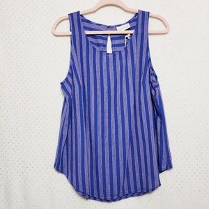 Blue/Pink Stripe Tank*Cotton/Linen Blend*NWT*Sz XL